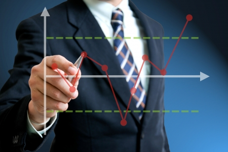 financial gains: Businessman writing Statistical pross Control Chart