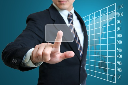 Business man touching screen concept Stock Photo