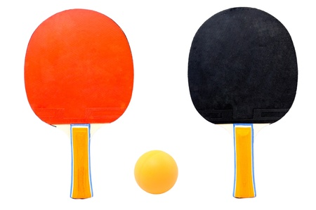 Table Tennis Racket and Ping Pong Ball with white background photo