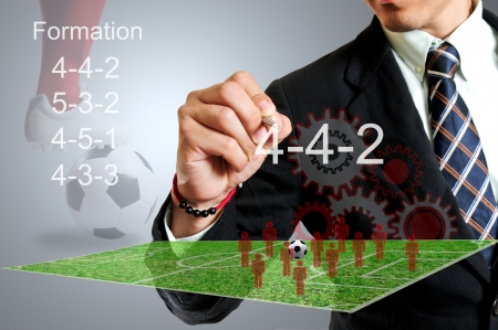 Football manager select formular 4-4-2 for match tournament  Stock Photo