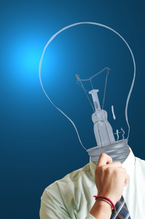 Big think Lamp businessman ,creative your thinking photo