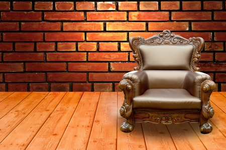 antique furniture: Luxury Arm Chair with background Stock Photo