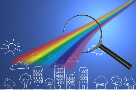 enlarge: classic magnifying glass with concept enlarge colorful
