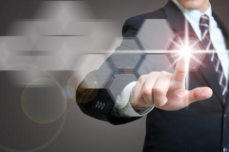 touchscreen: Retrato de negocios con el concepto de icono de contacto