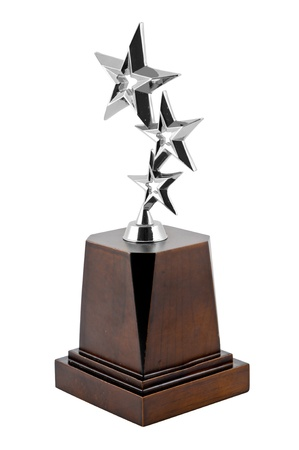 trophy winner: Star ward with white background Star Award Silver Trophy Stock Photo