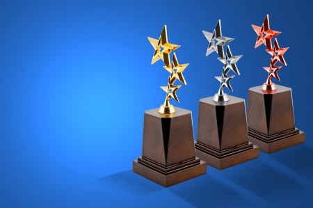 Star ward with white background   Award Golden Silver and Bronze award in studio photo