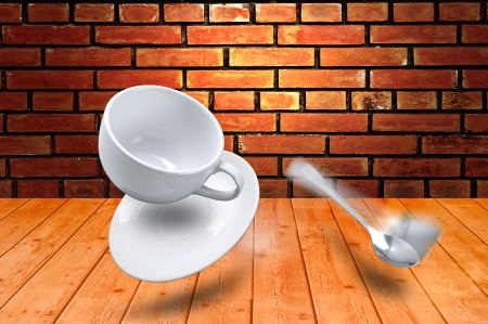 caribbeans: Falling Coffee cup Stock Photo