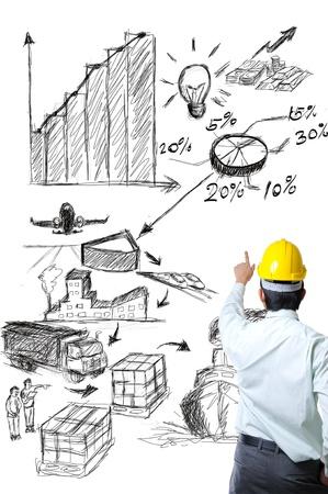 embarque: Ingeniero en el punto de boceto con la idea de log�stica con fondo blanco