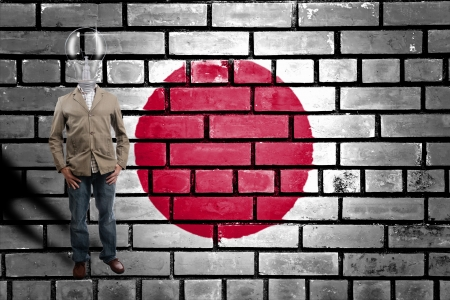 Lamp businessman with Japan Flag in studio Stock Photo - 14497034