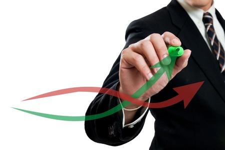 eficiencia: Empresario dedo toque crecer gr�fico con pantalla t�ctil