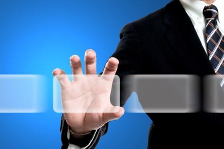 Businessman select bottom icon for do something Stock Photo - 14651290