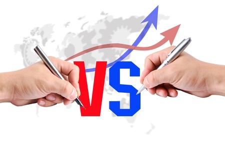 business rival: Escritura de VS durante rival de negocios en el mundo