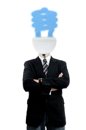 Lamp businessman with white background photo