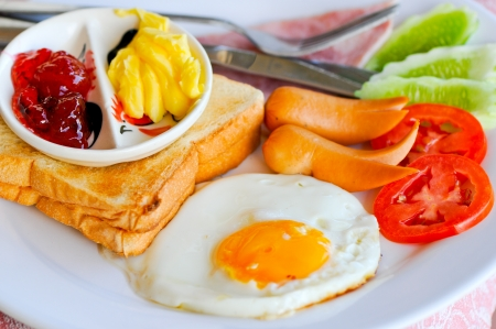 bacon love: Thai style breakfast with sweet heart egg in the morning Stock Photo