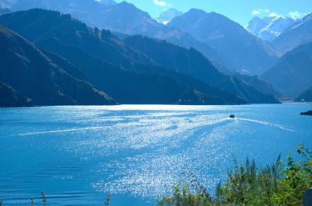 Tian Shi Lake and mountain in Xin Jiang China ,wonderful landscape in the morning photo