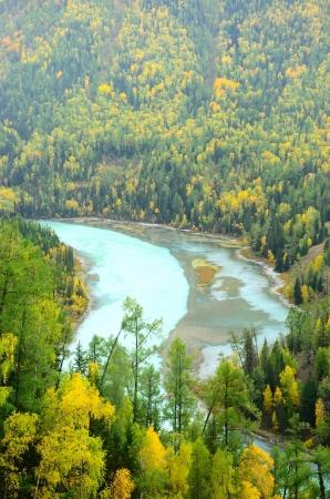 xinjiang: S Kanas ou Ka Na Si rivière à l'automne, Xin Jiang en Chine Banque d'images