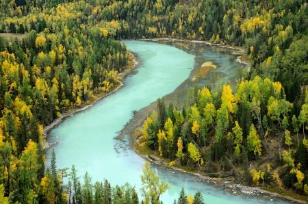 Kanas or Ka Na Si River in autumn ,XIn Jiang China