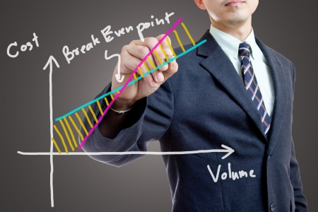 Businessman writing for explain Break Even Point photo