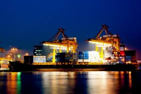 Container Cargo in twilight time photo