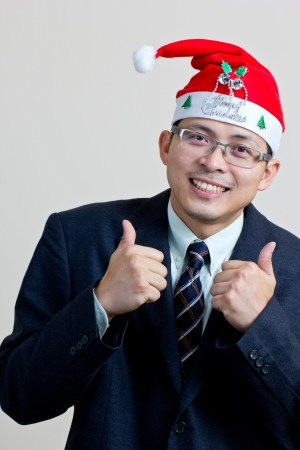 portrait businessman with santa concept photo