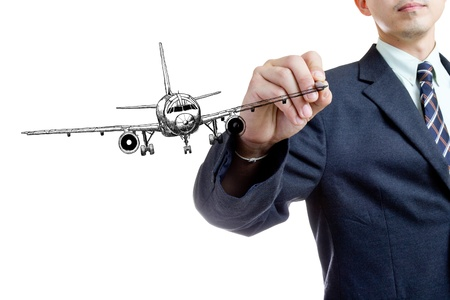 businessman writing air plane with white background photo