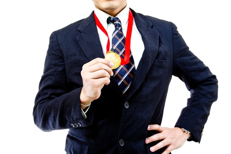 rival: Businessman show his golden after win over rival in the company