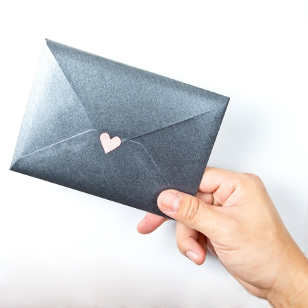 express feelings: love letter with white background