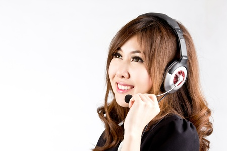 Asian women call center with phone headset with white background photo