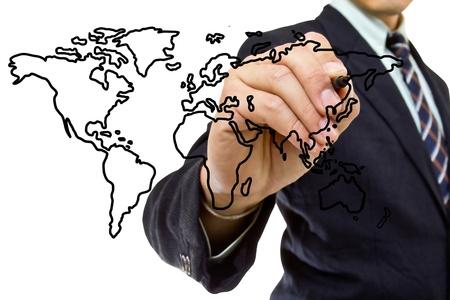 Businessman write Map world for explain something photo