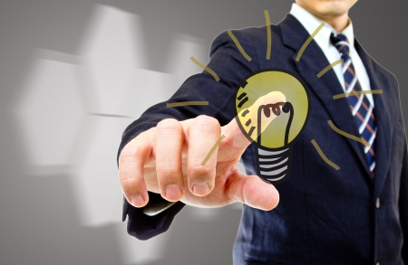 world market: Portrait businessman with touch icon concept in the world market share Stock Photo