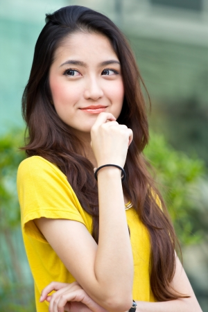 wonderful: Portrait beautiful Asian Girl with wonderful concept Stock Photo