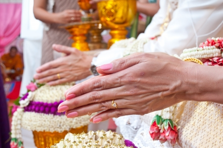 Wedding of Cultural Thailand on during give holy water that parent and elders say Congratulatory  to Wedding couple photo