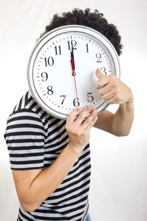 show time: Crazy man holding clock  to show time to you