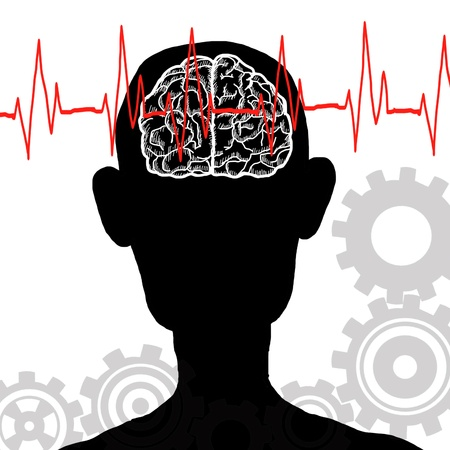 general insurance: Heart Beat and Brain for your think concept Illustration
