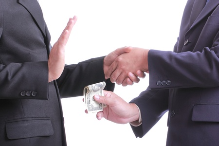 Businessman give money for corruption something but another people  unaccept to do that