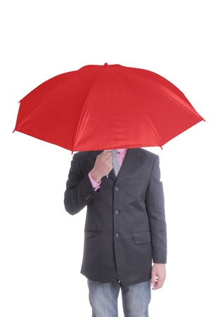 Businessman holding red umbrella with white background Stock Photo - 21272126