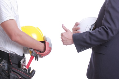 Engineer show hand for give like to worker with white background photo