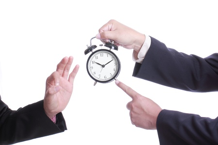 test deadline: Businessman point clock for order something , Ok will on time