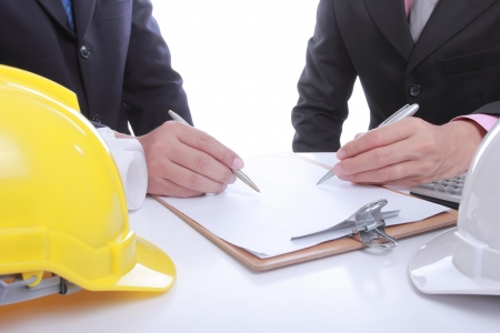 Two Engineers people discussing their project