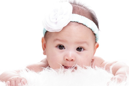 Close up Asian baby girl with white background