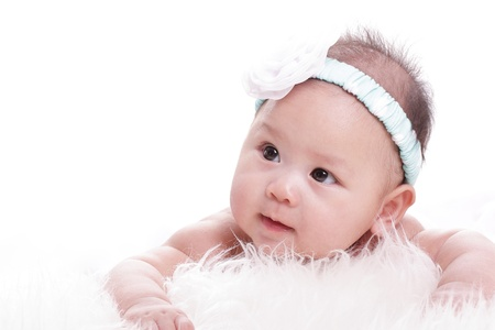 Close up Asian baby girl with white background photo