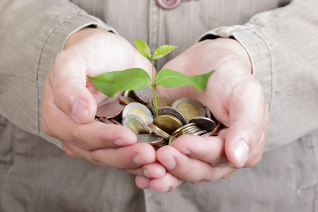 hand tree: Businessman cover growing plant with coin money