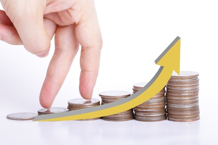 finger go up to the top of stack coin with concept growth finance Stock Photo - 21924173