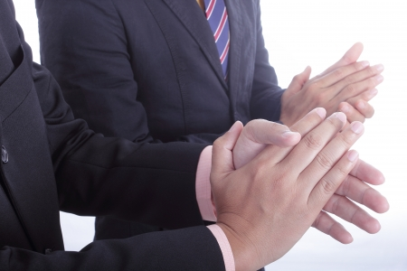 recompense: clapping hands for welcome and congratulation for appreciate in the office Stock Photo