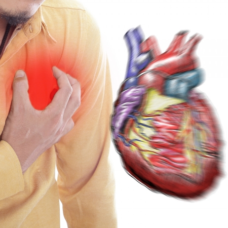 tightness: Heart Attack ,Use hand grabbing a chest with white background Stock Photo