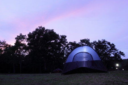 Tourist tents with twilight time photo
