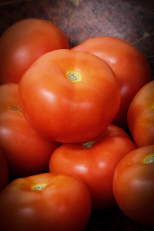 newsgroup: Close up Red tomatoes in the market Stock Photo