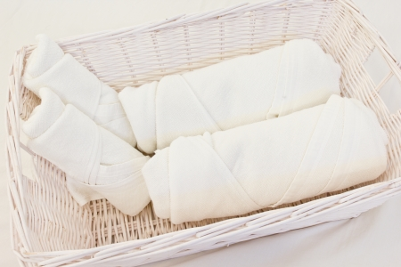 house ware: White rolled up in the hotel Stock Photo