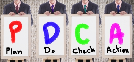 show case: businessmans show PDCA text to show case study ,Plan do check action with their business Stock Photo