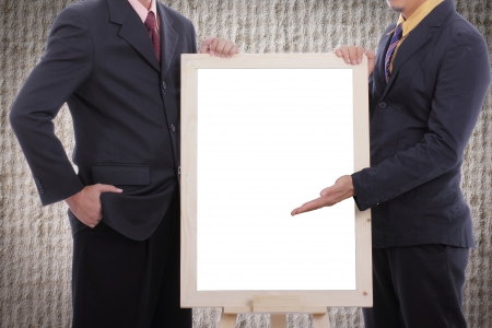 show case: Businessman  discuss and show case to customer with white board for good business